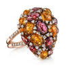18K Rose Gold Fashion Diamond Citrine And Tourmaline Ring