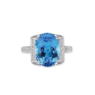 18K WHITE GOLD RING WITH DIAMONDS AND BLUE TOPAZ