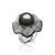 18K White gold ring with black and white diamonds and center pearl