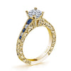 18K YELLOW GOLD DIAMOND AND SAPPHIRE ENGAGEMENT RING
