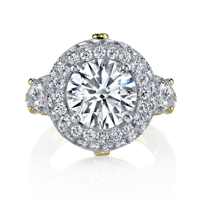 18K Two Tone Halo Diamond Engagement Ring