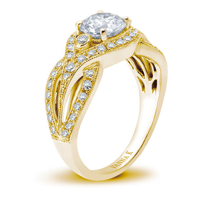 18K YELLOW GOLD DIAMOND ENGAGEMENT RING