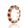 18K Yellow gold eternity band with diamonds and ruby's