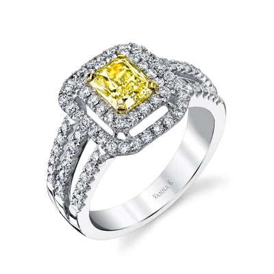18K YELLOW DIAMOND HALO ENGAGEMENT RING