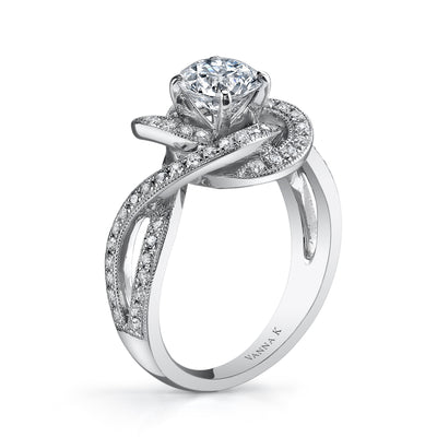 18K White Old Diamond Engagement Ring