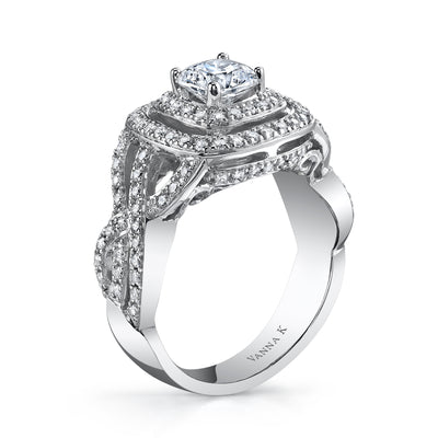 18K White Gold Double Halo Diamond Engagement Ring
