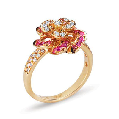 18K Rose Gold Ring With Diamonds And Sapphires