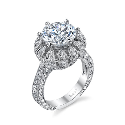 18K White Gold Signature Crown Diamond Engagement Ring