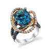 18K White Gold Fashion Diamond And Sapphire Blue Topaz Ring