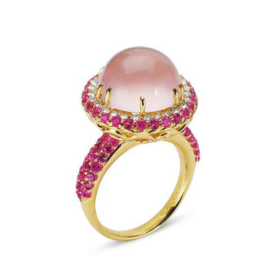 18K YELLOW GOLD RING WITH DIAMONDS SAPPHIRES AND ROSE QUARTZ