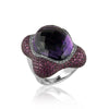 18K White gold ring with diamonds sapphires and center amethyst