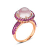 18K Rose Gold Ring With Diamonds Sapphires And Rose Quartz