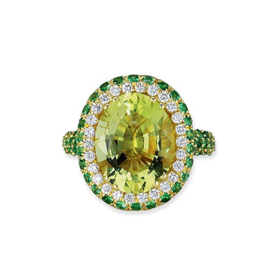 18K YELLOW GOLD RING WITH DIAMONDS TSAVORITE AND LEMON QUARTZ