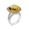 18K WHITE GOLD RING WITH DIAMONDS SAPPHIRES AND CITRINE