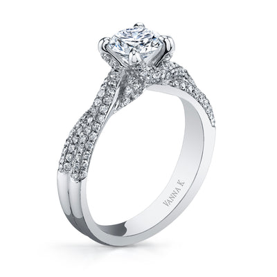 18K WHITE GOLD TWIST DIAMOND ENGAGEMENT RING