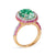 18K Rose Gold Ring With Pink Sapphires Diamonds And Green Amethyst