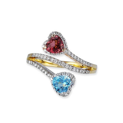 18K Tri Color Gold Birthstone Ring With Diamonds And Colored Stones