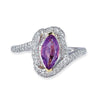 18K WHITE GOLD RING WITH DIAMONDS AND AMETHYST
