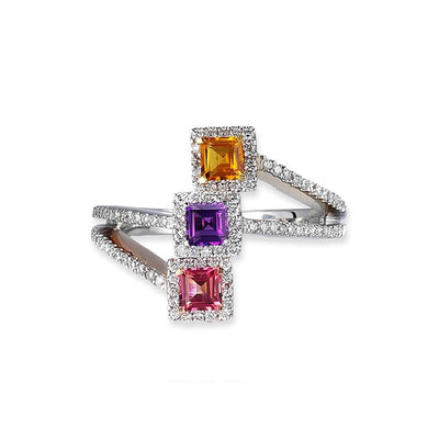 18K TWO TONE BIRTHSTONE RING WITH DIAMONDS AND COLORED STONES