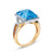 18K Two Tone Gold Ring With Diamonds And Blue Topaz