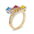 18K TRI COLOR BIRTHSTONE RING WITH DIAMONDS AND COLORED STONES