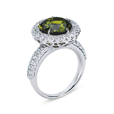 18K WHITE GOLD RING WITH DIAMONDS AND TOURMALINE