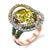 18K ROSE GOLD FASHION DIAMOND AND TSAVORITE RING