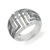 18K White Gold Fashion Ring With White And Brown Diamonds