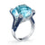 18K White Gold Diamond And Sapphire Fashion Blue Topaz Ring
