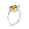 18K White Gold Ring With Diamonds And Citrine
