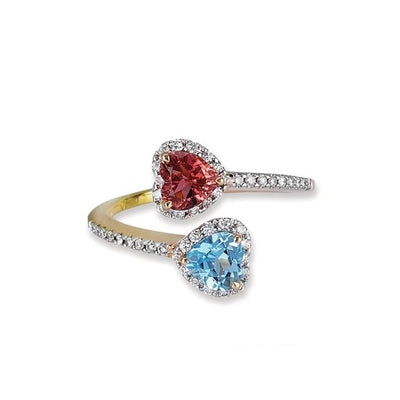 18K Rose Gold Birthstone Ring With Diamonds And Colored Stones