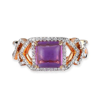 18K Rose Gold Ring With Diamonds And Amethyst