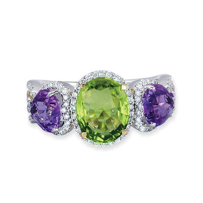 18K WHITE GOLD RING WITH DIAMONDS AND PERIDOT
