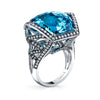18K White Gold Geometric Diamond And Blue Topaz Fashion Ring