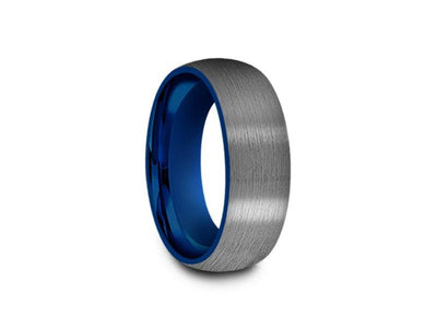 Brushed Tungsten Wedding Band - Blue Plated Inlay - Gunmetal - Two Tone - Engagement Ring - Dome Shaped - Comfort Fit  8mm - Vantani Wedding Bands