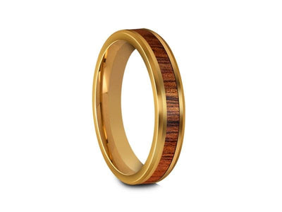 HAWAIIAN Koa Wood Inlay Tungsten Carbide Ring - Yellow Gold Palted - Koa Wood Wedding Band - Engagement Ring - Beveled Shaped - Comfort Fit  4mm - Vantani Wedding Bands