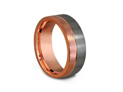 Rose Gold Tungsten Wedding Band - Brushed Polished - Engagement Ring - Two Tone - Flat Shaped - Comfort Fit  8mm - Vantani Wedding Bands
