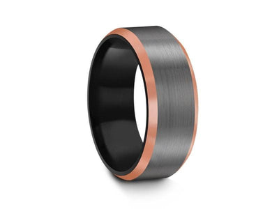Brushed Tungsten Wedding Band - Gunmetal - Rose Gold Inlay - Engagement Ring - Beveled Shaped - Comfort Fit  8mm - Vantani Wedding Bands