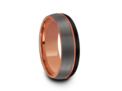 Rose Gold Tungsten Wedding Band - Brushed Polished - Engagement Ring - Three Tone - Dome Shaped - Comfort Fit  8mm - Vantani Wedding Bands