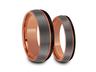 Tungsten Matching Wedding Band Set - Matching Bands - His/Hers - Engagement Ring Set - Three Tone Bands - Dome Shaped - Comfort Fit  6mm/8mm - Vantani Wedding Bands