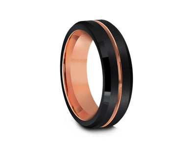 Rose Gold Tungsten Wedding Band - Brushed Polished - Engagemnet Ring - Two Tone - Beveled Shaped - Comfort Fit  6mm - Vantani Wedding Bands