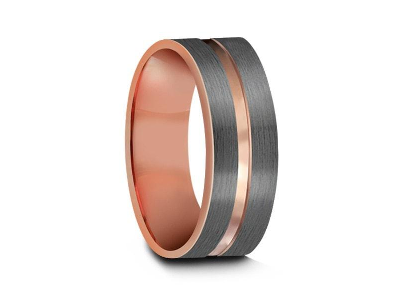 6MM Brushed Rose Gold Tungsten Wedding Band,Engagement,Two Tone,Flat,Comfort Fit