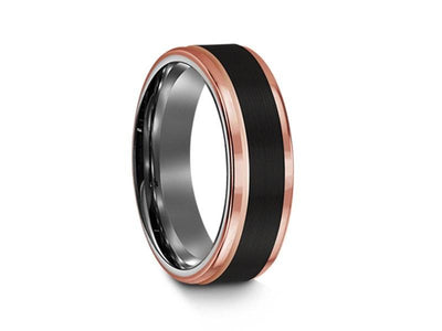 Brushed Black Tungsten Wedding Band - Rose Gold Edges - Three Tone Ring - Engagement Band - Ridged Edges - Comfort Fit  6mm - Vantani Wedding Bands