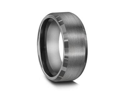 Brushed and Polished Tungsten Wedding Band - Gray Gunmetal - Engagement Ring - Beveled Shaped - Comfort Fit   8mm - Vantani Wedding Bands