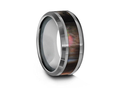 Mother of Pearl Inlay Tungsten Ring - Wedding Band - Engagement Ring - MOP Inlay - Beveled Shaped - Comfort Fit  8mm - Vantani Wedding Bands