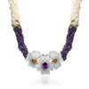 Five strand pearl and amethyst,mother of pearl necklace