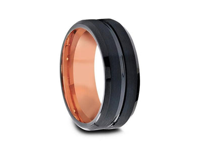 Black & Rose Gold Tungsten Wedding Band - Brushed and Polished - Two Tone Ring - Engagement Band - Beveled Shaped - Comfort Fit   8mm - Vantani Wedding Bands