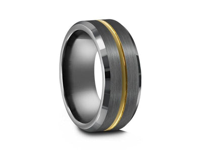 Brushed Tungsten Wedding Band - Gray Gunmetal - Engagement Ring - Beveled Shaped - Comfort Fit  8mm - Vantani Wedding Bands