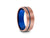 8MM BRUSHED ROSE GOLD TUNGSTEN WEDDING BAND BLUE LINE AND BLUE INTERIOR