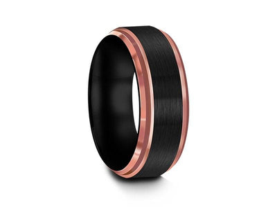 Brushed Tungsten Wedding Band - Rose Gold Inlay - Engagement Band - Two Tone Ring - Ridged Edges - Comfort Fit  8mm - Vantani Wedding Bands